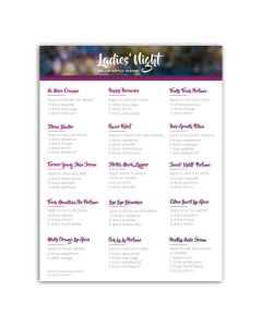 """Ladies' Night"" Make-It-Yourself Recipes and Labels"