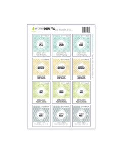 """""""Aroma Inhalers"""" Waterproof Label Sets (Sheets of 12)"""