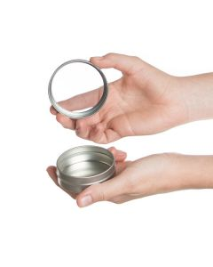 2 oz. Silver Tin Can with Window Lid