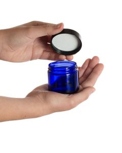 2 oz. Blue Glass Salve Jar with Black Lid