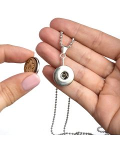 Interchangeable Design, Wood Snap Pendant, Diffusing Necklace