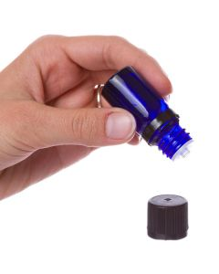 5 ml Blue Glass Vials and Black Euro-style Caps with Orifice Reducers (Pack of 6)