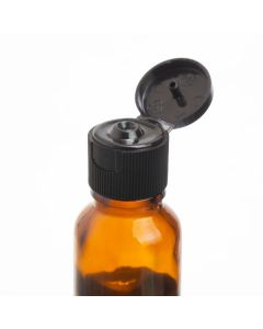 Black Snap-Top Cap for Standard 5, 10, and 15 ml Essential Oil Vials, 18-415 Neck Size (Pack of 6)