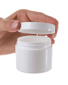 2 oz. Straight-Sided White Plastic Salve Container