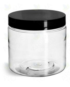 16 oz. Clear PET Plastic Jar with Black Lid
