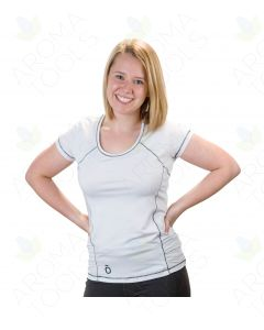 Women's doTERRA Branded White Athletic Shirt with Black Stitching