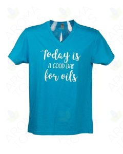 "Unisex Turquoise ""A Good Day for Oils"" V-Neck Short-Sleeve Shirt"
