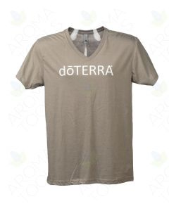 Unisex Stone Gray doTERRA V-Neck Short-Sleeve Shirt