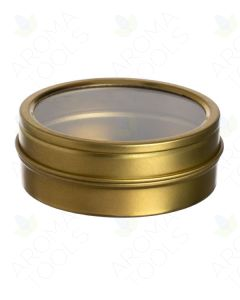 2 oz. Gold Tin Can with Window Lid