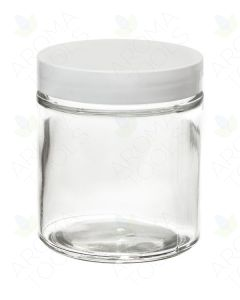 4 oz. Clear Glass Salve Jar with White Lid