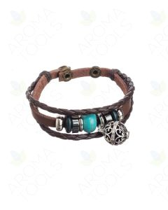 Braided Leather Bracelet with Locket and Aroma-Balls