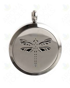 Stainless Steel, Dragonfly Locket Diffusing Necklace