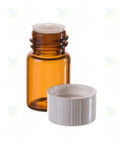 5/8 dram Amber Glass Vials, Orifice Reducers, and White Caps (Pack of 12)