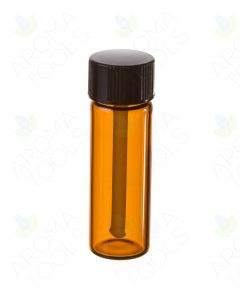 1 dram Amber Glass Vials with Black Tester Caps (Pack of 6)