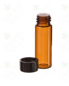 1 dram Amber Glass Vials, Orifice Reducers, and Black Caps (Pack of 12)