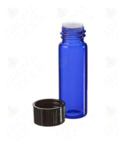 1 dram Blue Glass Vials, Orifice Reducers, and Black Caps (Pack of 6)