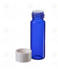 1 dram Blue Glass Vials, Orifice Reducers, and White Caps (Pack of 6)