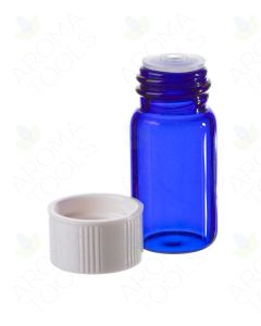 5/8 dram Blue Glass Vials, Orifice Reducers, and White Caps (Pack of 6)
