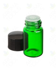 2 ml Green Glass Vials, Orifice Reducers and Black Caps (Pack of 12)