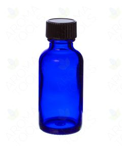 1 oz. Blue Glass Bottles with Black Caps (Pack of 6)