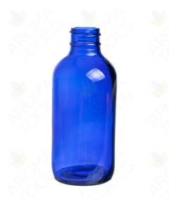 4 oz. Blue Glass Boston Round Bottle (24-400 Neck Size)