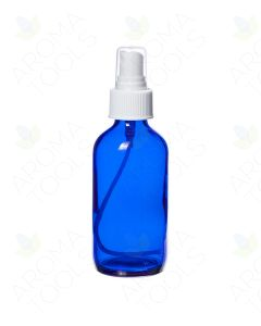 4 oz. Blue Glass Bottle with White Misting Sprayer