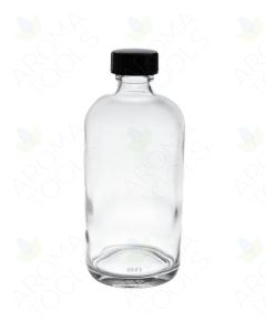 8 oz. Clear Glass Bottle with Black Cap