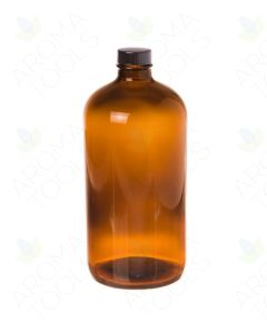 32 oz. Amber Glass Bottle with Black Cap