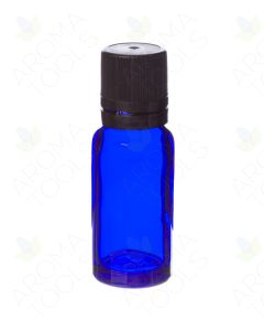 15 ml Blue Glass Vials and Black Euro-style Caps with Orifice Reducers (Pack of 6)
