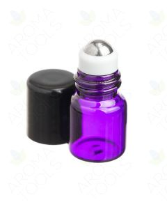 1 ml Purple Glass Vials with Metal Roll-ons and Black Caps (Pack of 12)