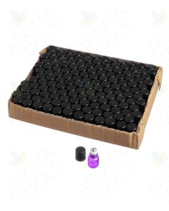 1 ml Purple Glass Vials with Metal Roll-ons and Black Caps (Pack of 144)