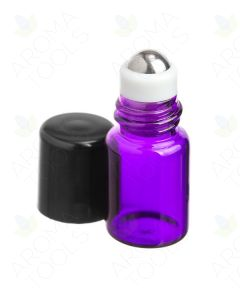 2 ml Purple Glass Vials with Metal Roll-ons and Black Caps (Pack of 12)