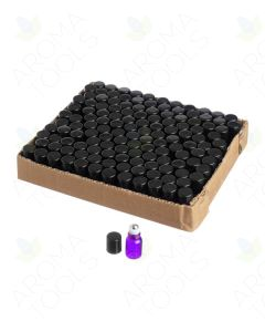 2 ml Purple Glass Vials with Metal Roll-ons and Black Caps (Pack of 144)