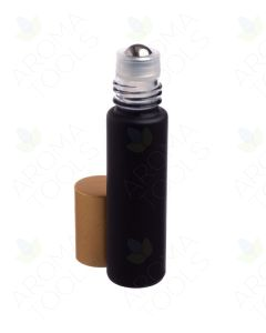 1/3 oz. Matte Black Glass Bottles with Metal Roll-ons and Gold Caps (Pack of 6)