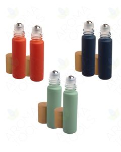 1/3 oz. Nautical Matte Collection Glass Bottles with Metal Roll-ons and Gold Caps (Pack of 6)