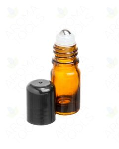 5 ml Amber Glass Vials with SpringLock Stainless Steel Roll-ons and Black Caps (Pack of 6)