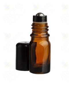 5 ml Amber Glass Vials with Stainless Steel Roll-ons and Black Caps (Pack of 6)