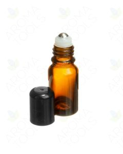 10 ml Amber Glass Vials with SpringLock Stainless Steel Roll-ons and Black Caps (Pack of 6)
