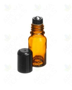 10 ml Amber Glass Vials with Stainless Steel Roll-ons and Black Caps (Pack of 6)