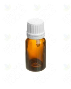 10 ml Amber Glass Vials and White Euro-Style Caps with Orifice Reducers (Pack of 6)
