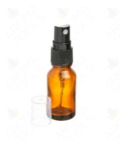 15 ml Amber Glass Vials with Black Misting Sprayers (Pack of 6)