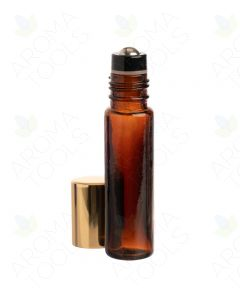 1/3 oz. Amber Glass Bottles with Metal Roll-ons and Shiny Gold Caps (Pack of 6)