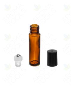 1/3 oz. Amber Glass Roll-on Vials with SpringLock Stainless Steel Roll-ons and Black Caps (Pack of 6)
