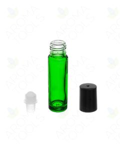 1/3 oz. Green Glass Bottles with Plastic Roll-ons and Black Caps (Pack of 6)