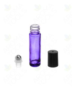 1/3 oz. Purple Glass Bottles with Metal Roll-ons and Black Caps (Pack of 6)