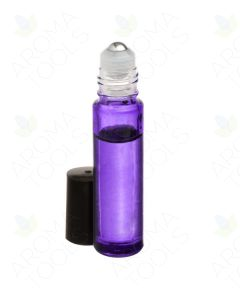1/3 oz. Purple Glass Roll-on Vials with SpringLock Stainless Steel Roll-ons and Black Caps (Pack of 6)