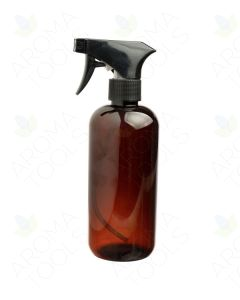 16 oz. Amber Plastic Bottle with Black Trigger Sprayer