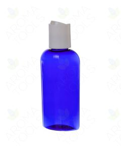 2 oz. Blue Plastic Oval Bottle with White Disc-top Cap
