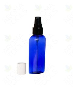 2 oz. Blue Plastic Oval Bottle with Black Treatment Pump