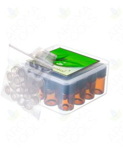 Plastic Oil Box with Sample Vials, Orifice Reducers, and Black Caps (16 Vials, 5/8 Dram)